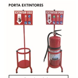 Base Metalica para Extintor PQS/CO2 Color Rojo